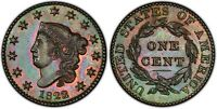 1823/2 1C LARGE CENT CORONET PROOF CAC AMONG FINEST R7  TWIN LEAF PR63 CAC PCGS