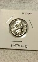 1970 JEFFERSON NICKEL I JUST OPENED A ROLL I HAD FOR YEARS NO BAG MARKS BUT S