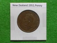 NEW ZEALAND   1951 ONE PENNY   PREDECIMAL COIN.