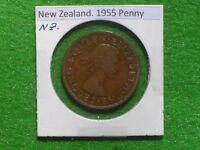 NEW ZEALAND   1955 ONE PENNY   PREDECIMAL COIN.