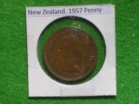 NEW ZEALAND   1957 ONE PENNY   PREDECIMAL COIN.