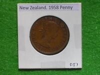 NEW ZEALAND   1958 ONE PENNY   PREDECIMAL COIN.