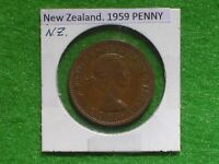 NEW ZEALAND   1959 ONE PENNY   PREDECIMAL COIN.