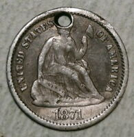 1871 SEATED LIBERTY HALF DIME FINE INEXPENSIVE TYPE COIN   0624 03