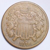 1870 TWO CENT PIECE CHOICE FINE SHIPS FREE E159 NT