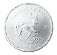 2018 SOUTH AFRICA 1 OZ SILVER KRUGERRAND R1 COIN GEM BU SKU54609