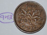CANADA 1939 1 CENT COPPER COIN ONE CANADIAN PENNY LOT 942