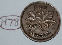 CANADA 1937 1 CENT COPPER COIN ONE CANADIAN PENNY LOT H78