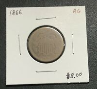 1866 U.S. TWO 2 CENT PIECE  ABOUT GOOD CONDITION $2.95 MAX SHIPPING C84