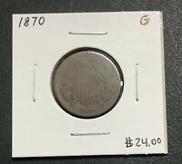 1870 U.S. TWO 2 CENT PIECE  GOOD CONDITION  $2.95 MAX SHIPPING C87