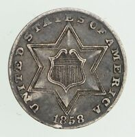 1858 SILVER THREE-CENT PIECE - CIRCULATED 7483