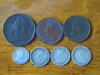 LOT OF CANADIAN 10C ONE 1904 NICKEL  LARGE CENTS AND ONE BRITISH PERNNY