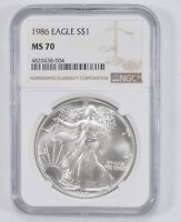 MS70 1986 AMERICAN SILVER EAGLE - NGC GRADED 1797