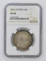 AU58 1836 CAPPED BUST HALF DOLLAR - LETTERED EDGE - NGC GRADED 4545