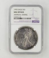 TONED DETAILS 1993 AMERICAN SILVER EAGLE - NGC GRADED 8537