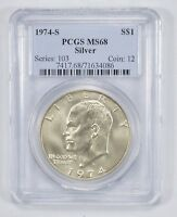 MINT STATE 68 1974-S SILVER EISENHOWER DOLLAR - PCGS GRADED 1792