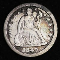 1845 SEATED LIBERTY DIME CHOICE FINE SHIPS FREE E278 RCL