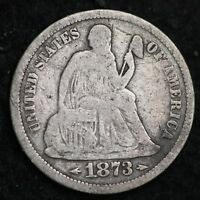 1873-S SEATED LIBERTY DIME CHOICE FINE SHIPS FREE E212 ACT
