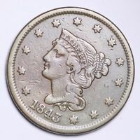 1843 BRAIDED HAIR LARGE CENT CHOICE EXTRA FINE  SHIPS FREE E120 KNT