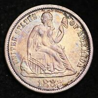1882 SEATED LIBERTY DIME CHOICE AU SHIPS FREE E306 GNC