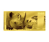 2018 TANZANIA BIG 5   RHINO FOIL NOTE GOLD SH1 500 COIN GEM PROOFLIKE SKU51820