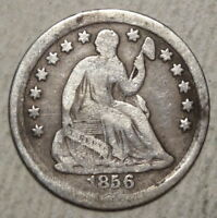 1856 SEATED LIBERTY HALF DIME INEXPENSIVE TYPE COIN   0624 02