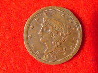 1851 BRAIDED HAIR HALF CENT PENNY LIBERTY COIN FREE S/H AFTER 1ST ITEM EXTRA FINE -AU