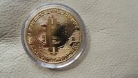 1 X GOLD PLATED BITCOIN COIN COLLECTIBLE GIFT BTC COIN ART COLLECTION PHYSICAL