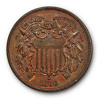 1866 2C TWO CENT PIECE UNCIRCULATED HIGH END MINT STATE BROWN BN 7002