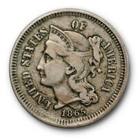 1865 THREE CENT NICKEL EXTRA FINE EXTRA FINE  REPUNCHED DATE VARIETY US COIN 6197