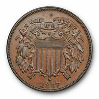 1867 TWO CENT PIECE UNCIRCULATED MINT STATE BROWN BN Z16