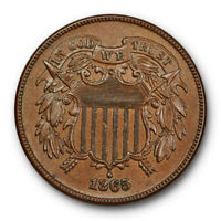 1865 TWO CENT PIECE UNCIRCULATED HIGH END BROWN FANCY 5 SHARP US COIN 7073