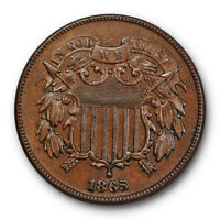 1865 TWO CENT PIECE UNCIRCULATED BROWN ORIGINAL FANCY 5 4976