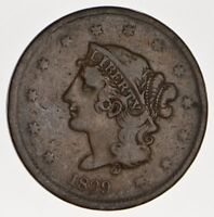1839 YOUNG HEAD LARGE CENT - BOOBY HEAD - CIRCULATED 0112
