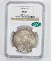 MINT STATE 66 1925 CAC PEACE SILVER DOLLAR - NGC GRADED 2062