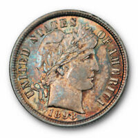 1898 BARBER DIME UNCIRCULATED HIGH END MINT STATE TONED COLORFUL BEAUTY 2792