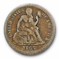 1865 S DIME SEATED LIBERTY  FINE TO EXTRA FINE KEY DATE SCRATCHED 6782