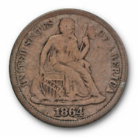 1864 S SEATED LIBERTY DIME FINE TO  FINE KEY DATE US COIN 7090