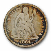 1864 S SEATED LIBERTY DIME FINE F KEY DATE US COIN LOW MINTAGE 9770