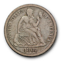 1864 S SEATED LIBERTY DIME  FINE TO EXTRA FINE KEY DATE ORIGINAL 9354