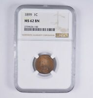 MINT STATE 62BN 1899 INDIAN HEAD CENT - NGC GRADED 7380