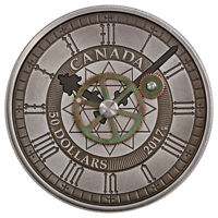 2017 CANADA PEACE TOWER CLOCK 90TH 5 OZ SILVER ANTIQUED $50