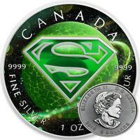 SUPERMAN KRYPTONITE    2016 CANADIAN 1 OZ PURE SILVER COIN