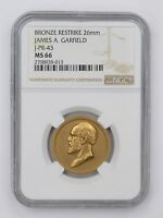 MINT STATE 66 BRONZE RESTRIKE 26MM JAMES A GARFIELD COIN - NGC GRADED 4553