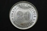 CHINA YR9 1920 20 CENTS KWANG TUNG SILVER COIN  FULL LUSTER GEM - UNC