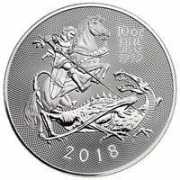 2018 ROYAL MINT VALIANT ST. GEORGE 10 OZ .9999 SILVER COIN N