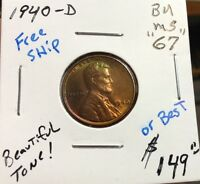 1940-D 1C BRILLIANT UNCIRCULATED LINCOLN CENT TONED