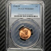 1948 D LINCOLN CENT PCGS MINT STATE 66 RD 10067