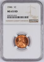 1946 LINCOLN WHEAT CENT 1C NGC MINT STATE 65 RD RED