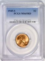 1945 S LINCOLN WHEAT CENT CARTRIDGE CASE BU UNC PENNY PCGS MINT STATE 65 RD RED 223